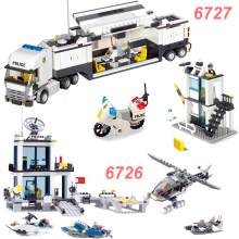 KAZI 6726/6727 Police Station Building Blocks Helicopter Boat Model Bricks Police Trucks Moc Bricks Compatible Legoings Police police pl 14385jsb 57