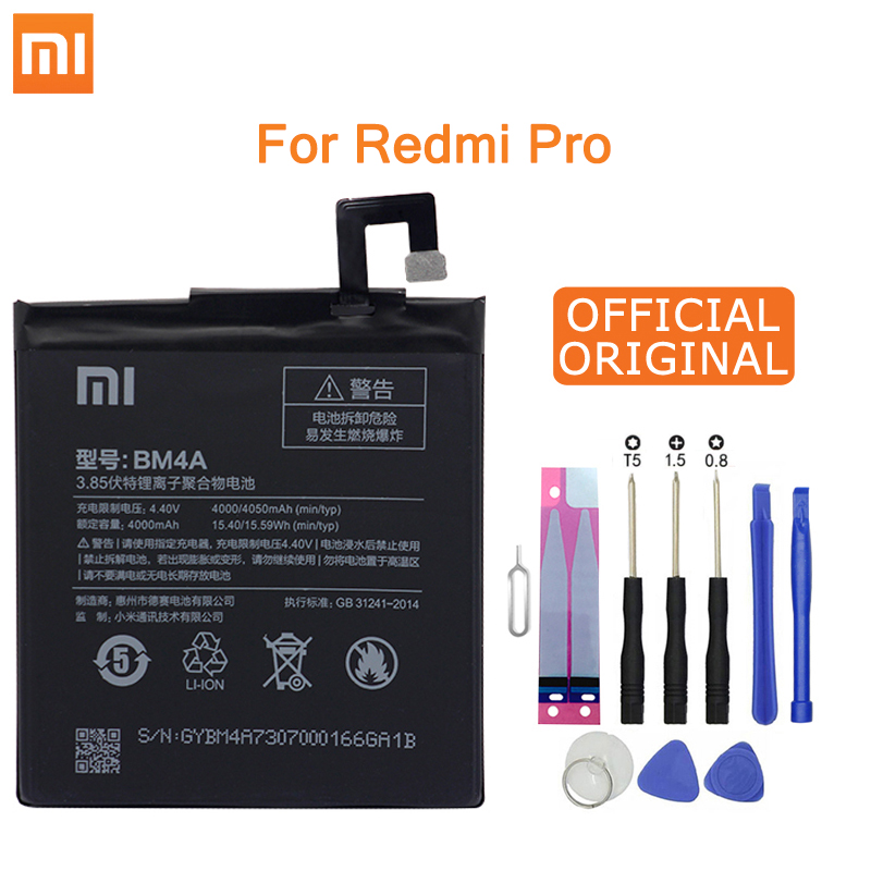 Xiao Mi Original Phone Battery BM4A for Xiaomi Hongmi Redmi Pro 4000mAh Replacement Batteries Retail Package Free Tools|Mobile Phone Batteries| |  - title=