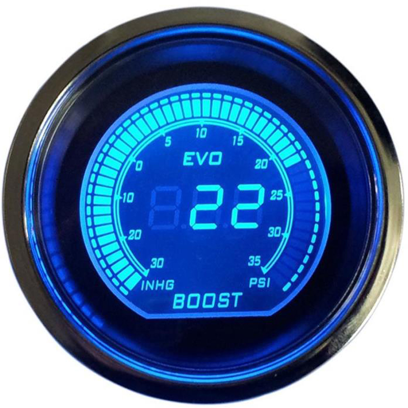 52mm Car Guages Boost Turbo Gauge Psi LCD Digital Display With Sensor EVO Red Blue jauge voiture reloj presion turbo auto bar(China)