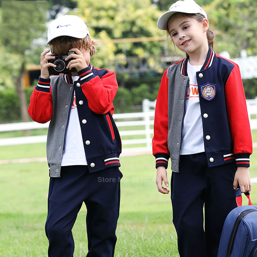 100-180cm Children Boy Girl School Uniform Autumn Baseball Jacket+trousers Set Primary High School Student Teenager Clothing