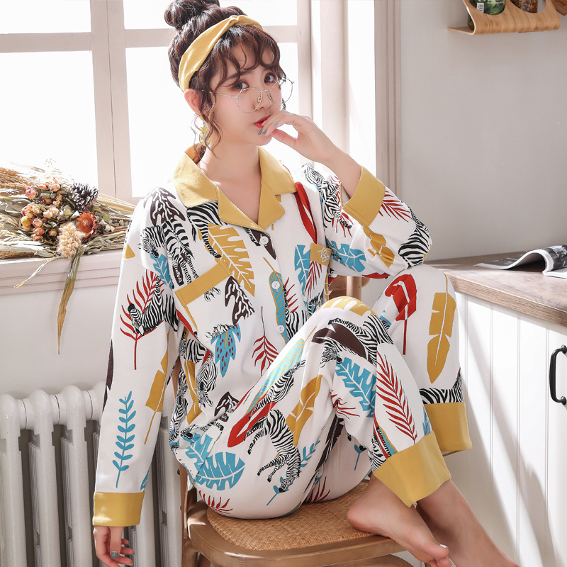 M-5XL Soft Pajamas For Women Spring 2 Pcs Pajamas Set Cotton Long Sleeve Nightwear Turn-down Collar Female Home Clothes Pijamas
