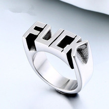 Punk Men Women Rings Personalized Letter Young Lady Fashion Street Ring Zinc Alloy Unisex Heavy Metal Style Drop SP430