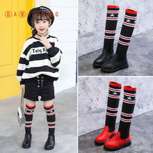 Knee-Boots Princess-Shoes Girls High-Over Winter Children New Autumn BAMILONG Y367 Knitted
