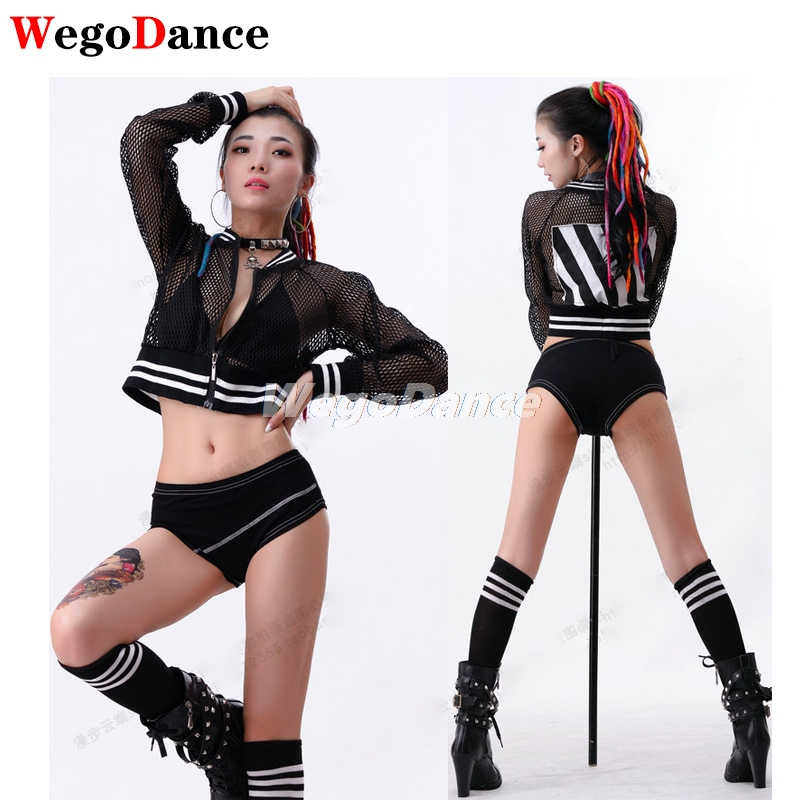 Mesh Fashion Hip-hop Sexy Top Ultra Short Net Jacket Loose Collar Dance Ds Performance Jazz Stage Dj Ds Jacket
