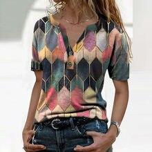 Maglietta da donna a manica corta maglietta estiva maglietta femminile scollo a v Patchwork da ufficio abbigliamento donna Casual morbido pulsante accogliente top da donna