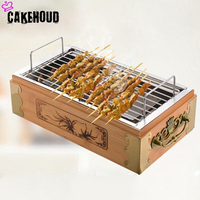 CAKEHOUD Outdoor Camping Portable Wooden Stainless Steel Grill Charcoal Food Barbecue Cooking Tool Charcoal Oven Kitchen Tools