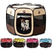 Portable Foldable Playpen Pet Dog Crate Room Puppy Exercise Kennel Cat Cage Water Resistant Outdoor Removable Mesh Shade Cover(China)