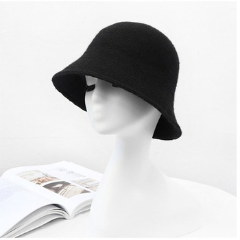 2020 panama warm winter Women's Bucket hat for teens Felt wool hat for girl sautumn and winter fashion Fur Black hip hop hat cap