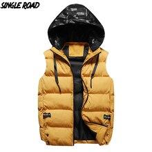 SingleRoad hiver gilet hommes 2019 nouvelle mode à capuche sans manches veste mâle coupe vent jaune hommes coton gilet manteau manbodyplus chaud