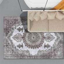 Европейский ретро серый белый ковер с геометрическим узором