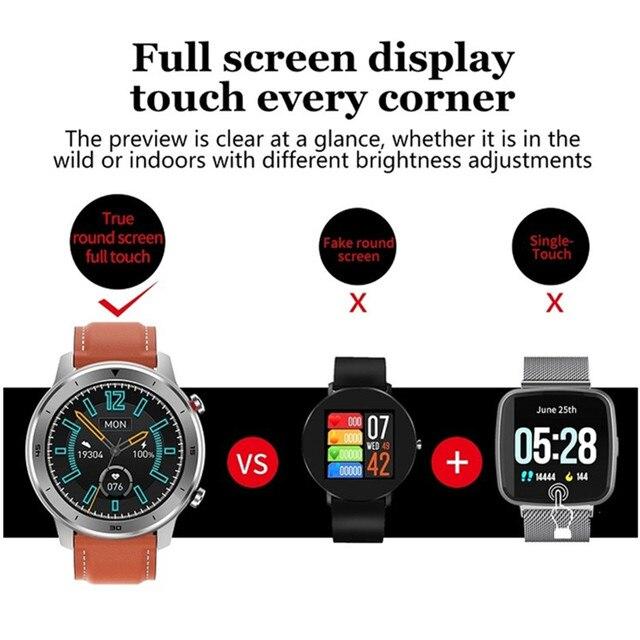 Pełne zegarek smart watch z ekranem dotykowym tętna monitor ciśnienia krwi Relogio Masculino śledzenie aktywności kobiety Smartwatch z systemem Android IOS