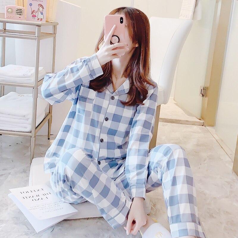FallSweet Plaid Pajamas For Women Set Turn-down Collar Ladies Sleepwear Long Sleeve Pyjama
