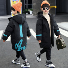 Kids Boys Winter Coat Hooded Thick Warm Long Jacket Teenage Boy Cotton Parka Children Outerwear Clothes for Boys 5 10 12 16 Year cheap WEIXU Polyester 0 65 CN(Origin) Casual Print 2020111001 zipper Regular Fits true to size take your normal size Broadcloth
