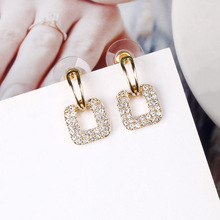 needle Korean version simple temperament trend all kinds of earrings full of Earrings Jewelry New Square geom korean version of ins fashion earrings pearl trend earrings temperament goddess simple jewelry