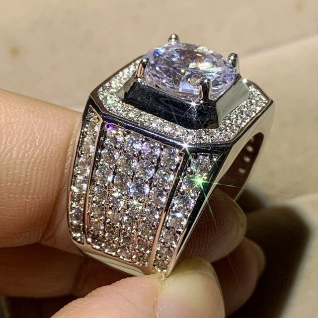 6 Style Stunning Hot Sale Luxury Jewelry Male 925 Sterling Silver Round Cut Big White AAAAA Cubic Zircon Wedding Band Men Ring