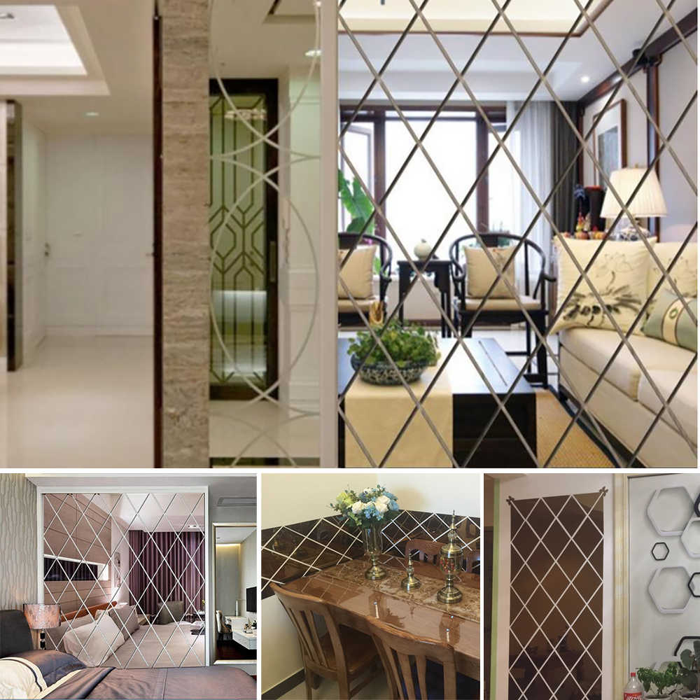 Square Spliced Stickers Self Adhesive Acrylic Mirror Sheets Wall Decals NewBDAU