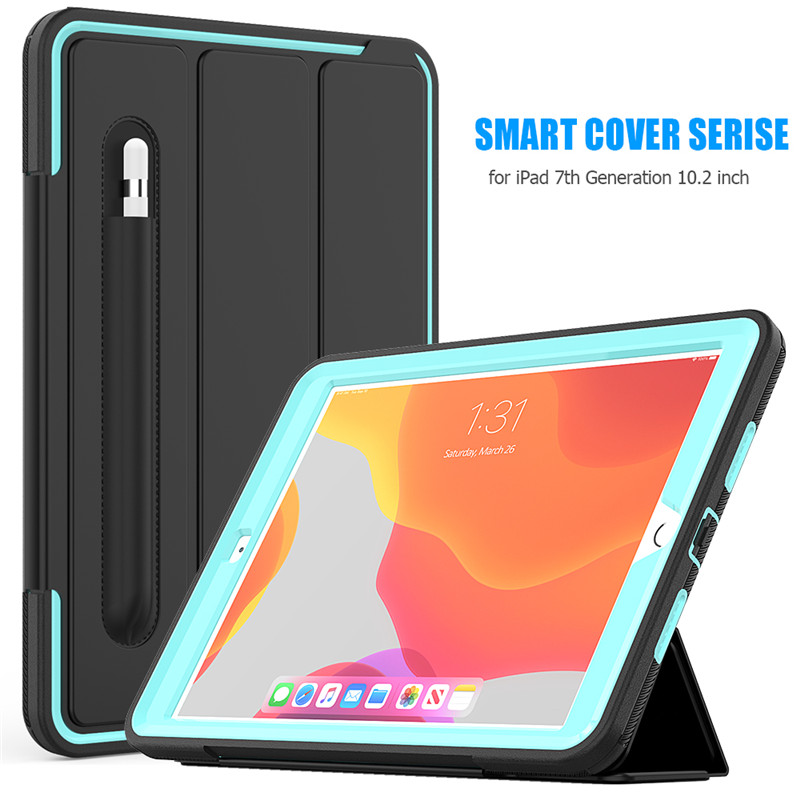 Light Blue White Full Protection Case For Apple IPad 10 2 inch Kids Safe Shockproof Heavy Duty TPU Hard