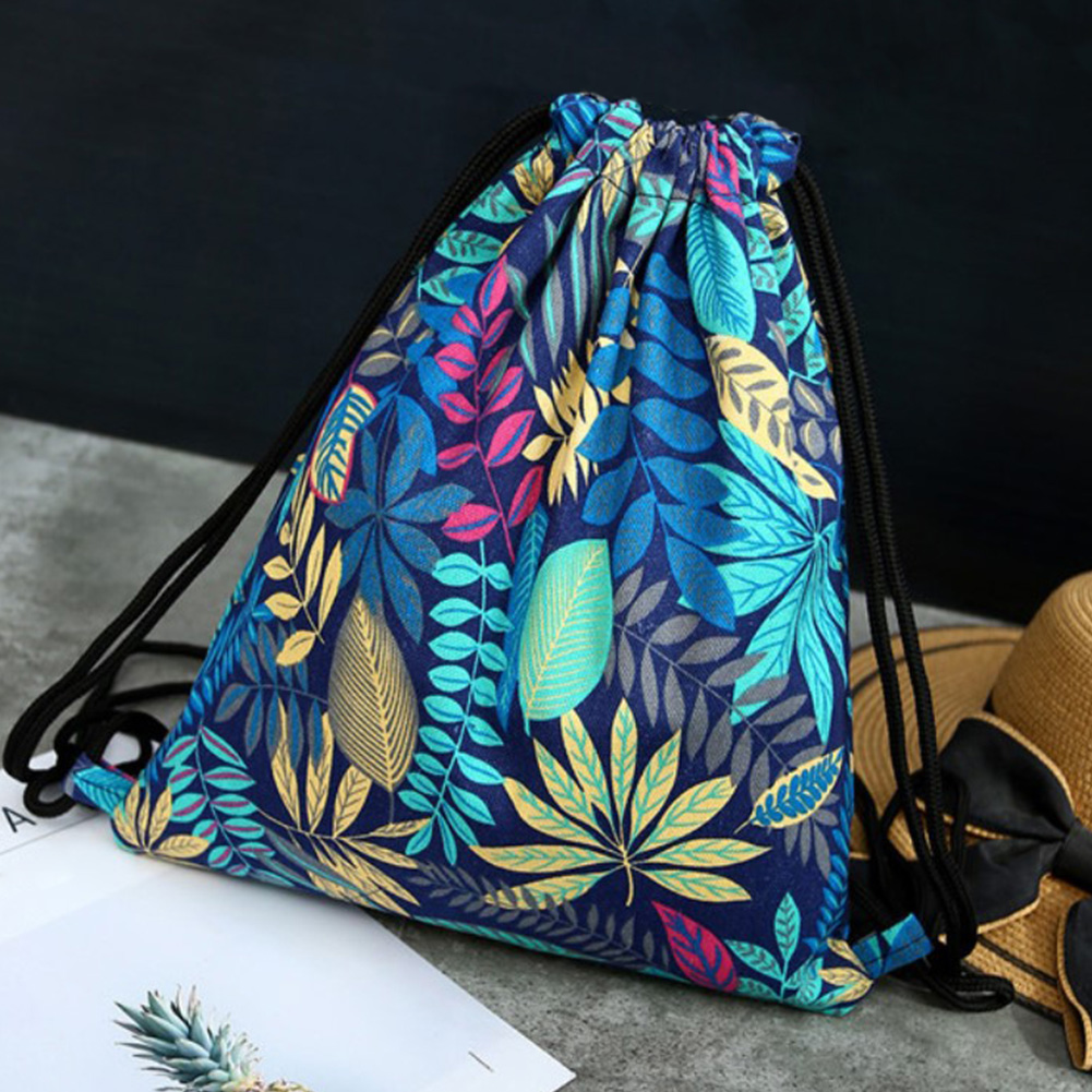Women Storage Backpack Organizer Shoulder Travel Shopping Shoes Drawstring Bag Floral Print Canvas Pouch Sport Outdoor Multi Use