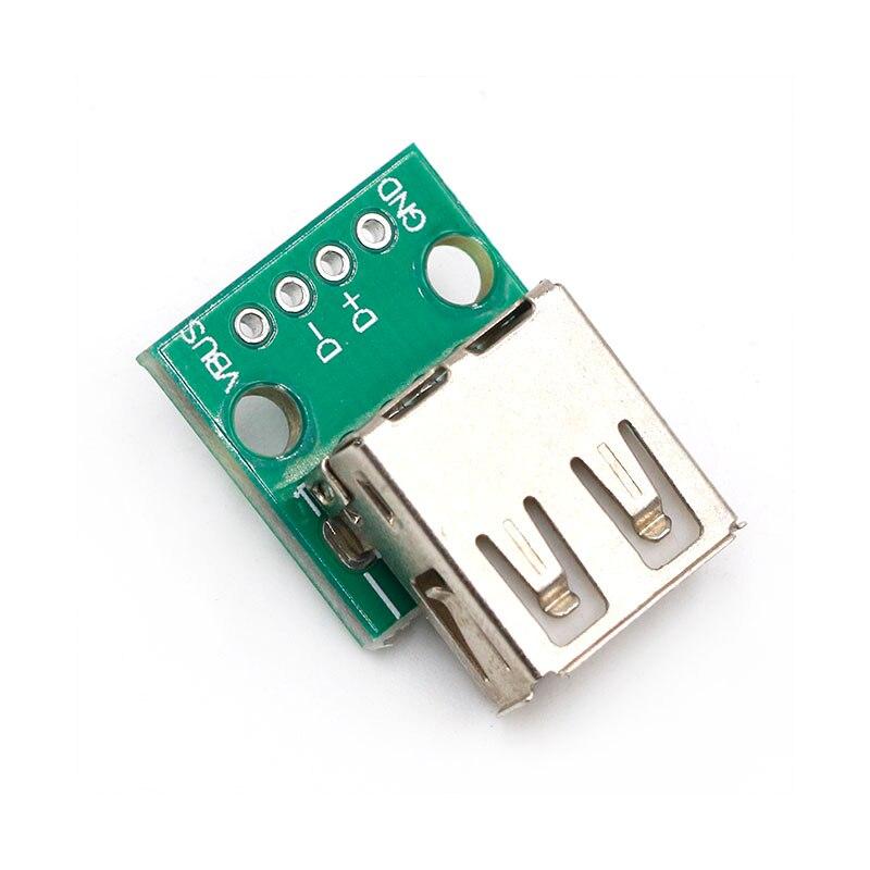 Conector hembra tipo A de 5 uds., USB A DIP de 2,54mm, conector hembra de placa PCB, conector USB de PCB, conector USB de PCB