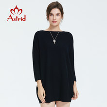Astrid 2019 Autumn new arrival dress women high quality top black color short women fashion clothes women jumper dress for laide(China)