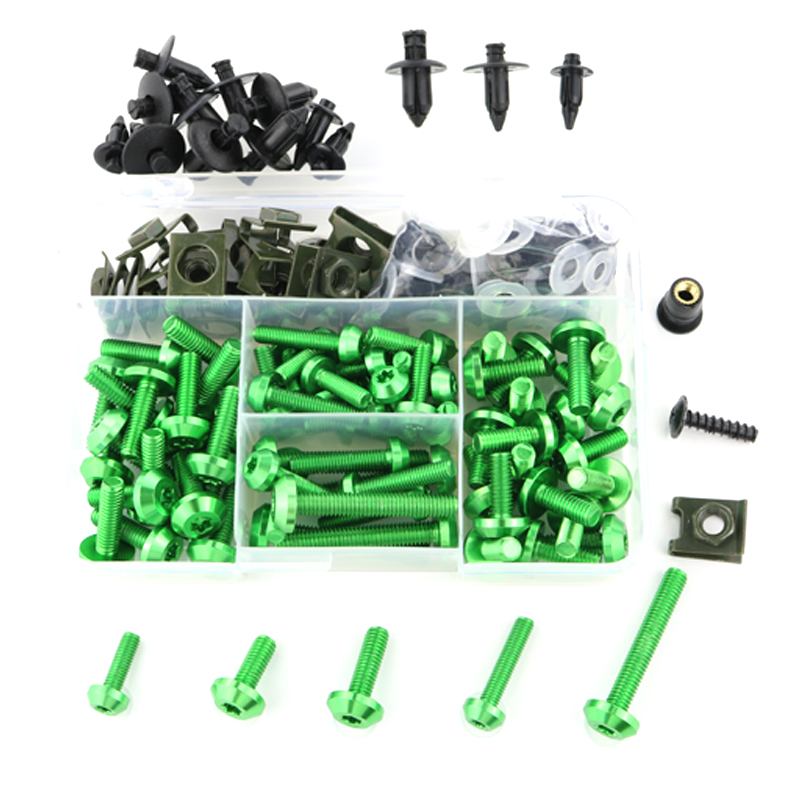 For  Kawasaki ZX-7R Ninja 650R 250R ZZR600 ZX9R Ninja ZX-6R ZX10R ZX-14R ZZR1400 CNC Complete Full Fairing Bolts Kit Screws Nuts