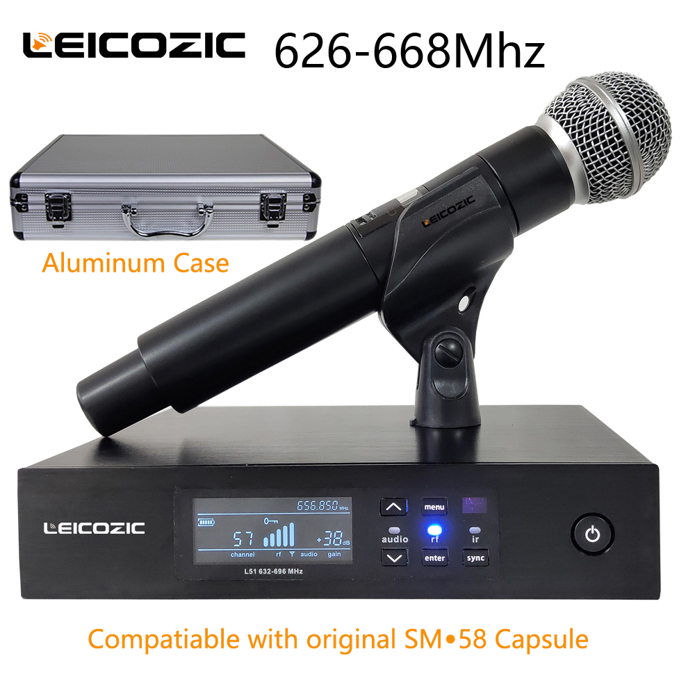Leicozic QLXD Digital Microphone Wireless System QLXD4 Handheld Mic Single Channel Work With Original SM-58A Capsule 628-668Mhz