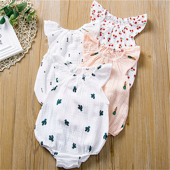 2020 New Summer Linen Cotton Newborn Baby Girls Rompers Kids Outfits Pajamas Print Children Clothing Toddler Girl Clothes 0-2Y цена 2017