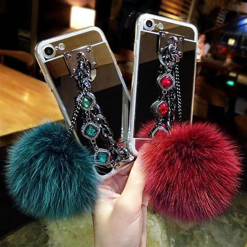 高級毛皮の毛玉ダイヤモンドチェーンミラーソフト Tpu カバー用 11 プロマックス XSMAX XR 7 8 プラス 6 6s プラス電話ケース