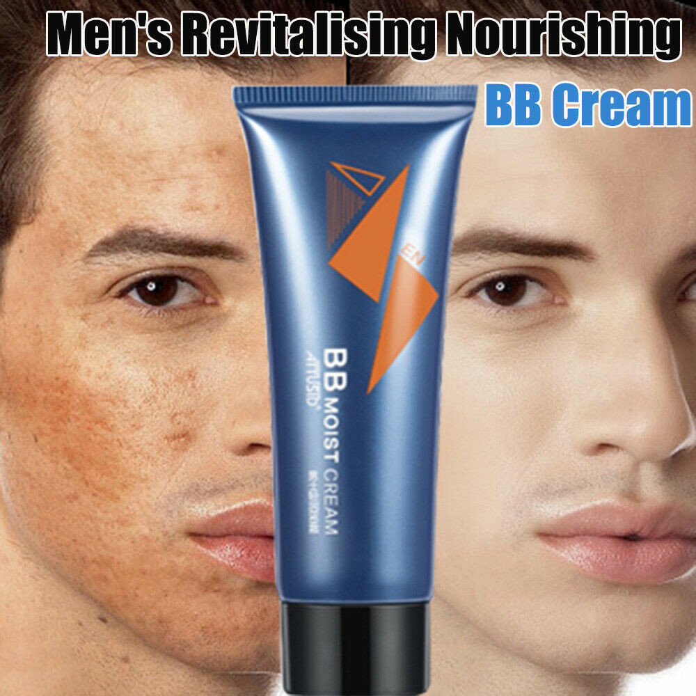 ATTUSID Men BB Cream Revitalising Nourishing Men's BB Cream Natural Whitening Face Foundation Tone Up Cream Lazy Concealer 50g