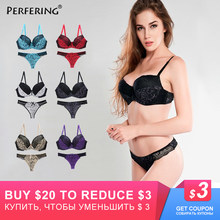 Perfering Plus Size Bras Set Sexy Underwear Cotton Gather Push up Bra and Panty Set Women B C D DD E Large Cup Bra Big Lingerie(China)