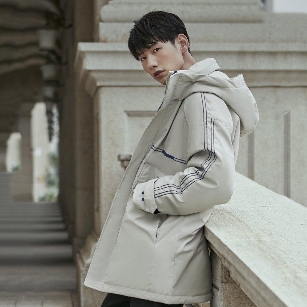 Xiaomi 90Fun, модная 3D вышивка, 90% утиный пух, куртка, Ipx4, водонепроницаемая, против сверления, ткань, с капюшоном, мужские пуховики, пальто - 5