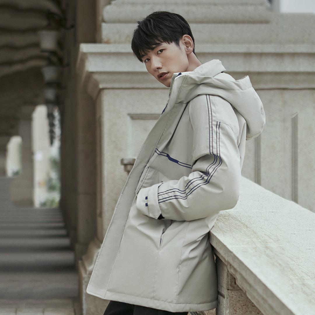 Xiaomi 90Fun moda 3D bordado 90% pato abajo chaqueta Ipx4 impermeable Anti perforación tela con capucha hombres abajo chaquetas abrigos - 5