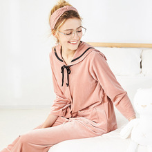 2019 Autumn  Winter Gold Velvet Women Pajamas Suit Cartoon Big Round Neck Long Sleeve Elastic Waist Trousers