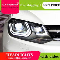 AUTO.PRO headlights for vw touareg 2011 2014 car styling bi xenon lens LED light guide DRL H7 xenon headlamps for vw touareg