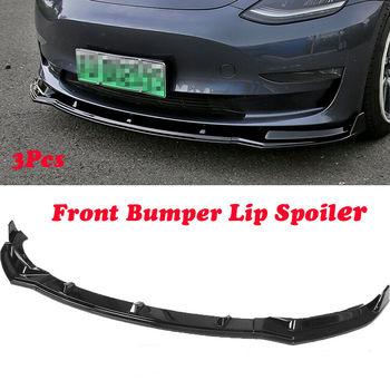 Zderzak przedni odlewnictwo Lip Spoiler pokrywa czarny błyszczący dla Tesla Model 3 Sedan 2016 2017 2018 2019 (3 sztuk) tanie i dobre opinie Kyostar 16cm 105cm Carbon fiber Zderzaki 2 4kg Bumper Molding Lip 24inch KD7421