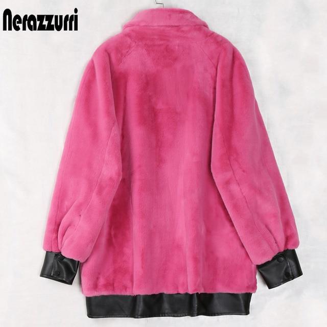 Nerazzurri hiver surdimensionné moelleux fausse fourrure veste femmes avec beaucoup de poches fermeture éclair manches longues chaud en cuir patchwork fourrure manteau