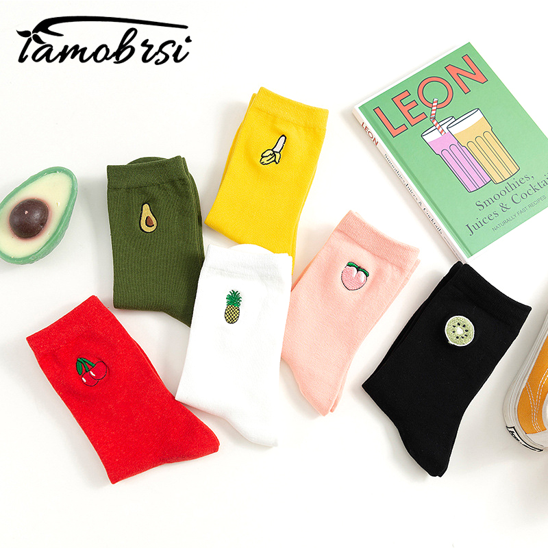Cartoon Embroidery Sweet Fruit Avocado Peach Socks Cute Korean Streetwear Women Socks Warm Funny Short Winter Cotton Happy Socks