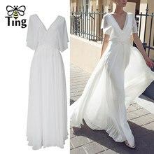 Tingfly-Robe longue victorienne Vintage, col en V, blanc, Robe longue élégante en dentelle, Patchwork, vêtement de fête, extérieur, mariage, été