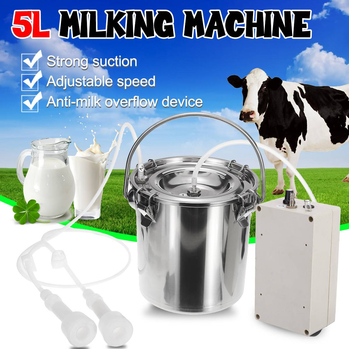 Vacuum Pump For Cow Milking Machine Milker Bucket Tank Barrel T
