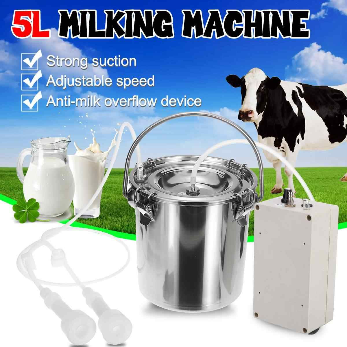 5L Portable Electric Milking Machine for Cows Sheep Adjustable Speed Pump Stainless Steel Bucket Goat Milker Vacuum Pump Suction