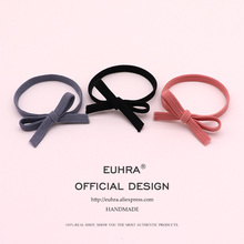 EUHRA 3 Colors Elastic Hair Bands Pink Flat Bow High Elasticity Women Girls Hairband Children Rubber Band kids Strong