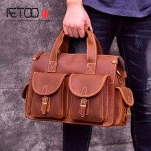 AETOO Handmade mad horse leather mens bag, briefcase, vintage laptop British wind one-shoulder parcel