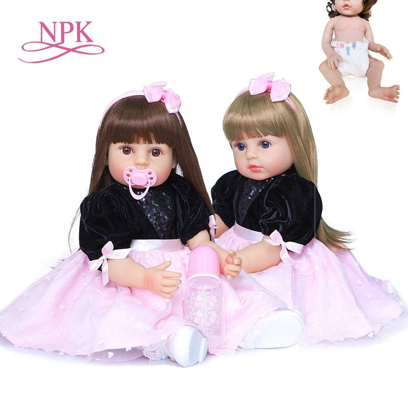 Muñeca de cuerpo completo de silicona NPK original para niño niña, juguete de bebé recién nacido de 55CM, muñeca princesa bebé impermeable