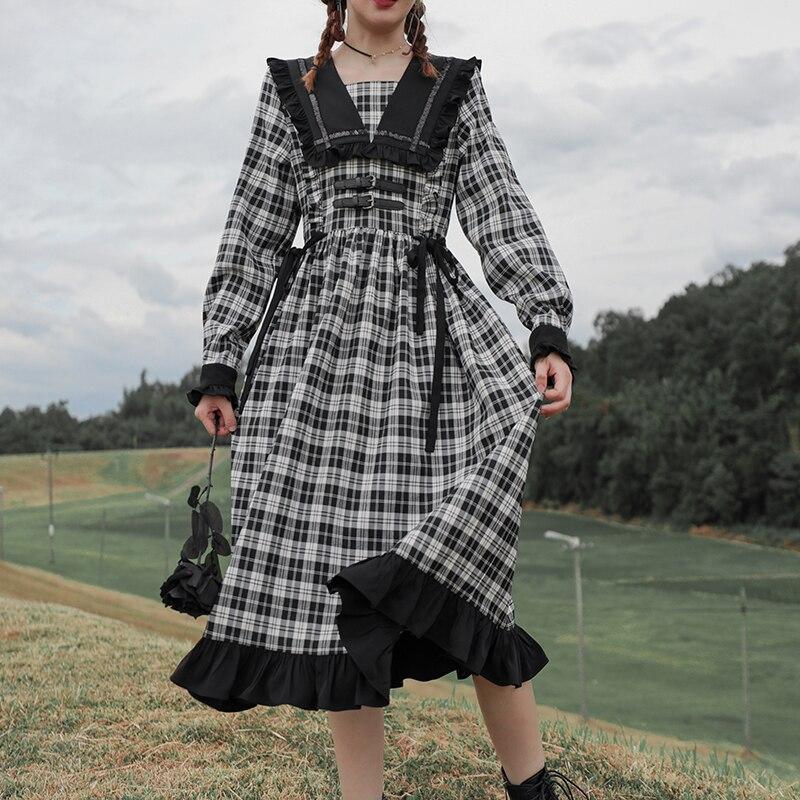 Женское платье лолиты anbenser готическое винтажное в клетку