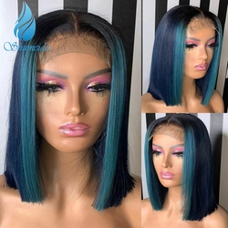 13*6 spitze Blau Spitze Front Menschliches Haar Perücken Brasilianer Remy Highlight Kurze BoB Perücke mit Baby haar Für Schwarze Frauen