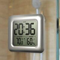 Hygrometer Waterproof Clock Large Screen Bathroom Shower LCD Display Square Thermometer
