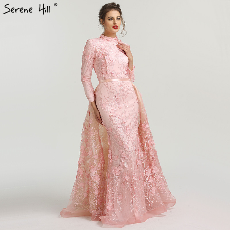 Muslim Romantic Pink Long Sleeves   Evening     Dresses   2019 High Neck Handmade Flowers   Evening   Gowns Serene Hill LA6308
