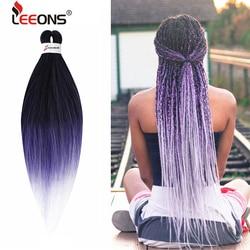 Cheveux de tressage pré-étirés Leeons 26 pouces Ez tresses cheveux synthétiques au Crochet pour tresse Extension de cheveux de tressage facile pour les femmes