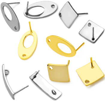 20pcs Polygonal Stainless Steel Gold Earring Stud Ear Hook Pad Base DIY Man Woman Earring Jewelry Making Findings Accessories 10pcs stainless steel ball studs earring pins post gold rhodium color ear stud with loop for diy accessories jewelry making z866