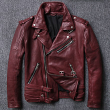 2020 Men Genuine Motorcycle Leather Jacket Tanned Vintage Goatskin Red Slim Oblique zipper Biker Jackets(China)